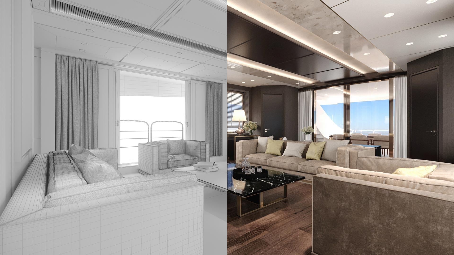 Modellazione e rendering 3D yacht e ambiente circostante
