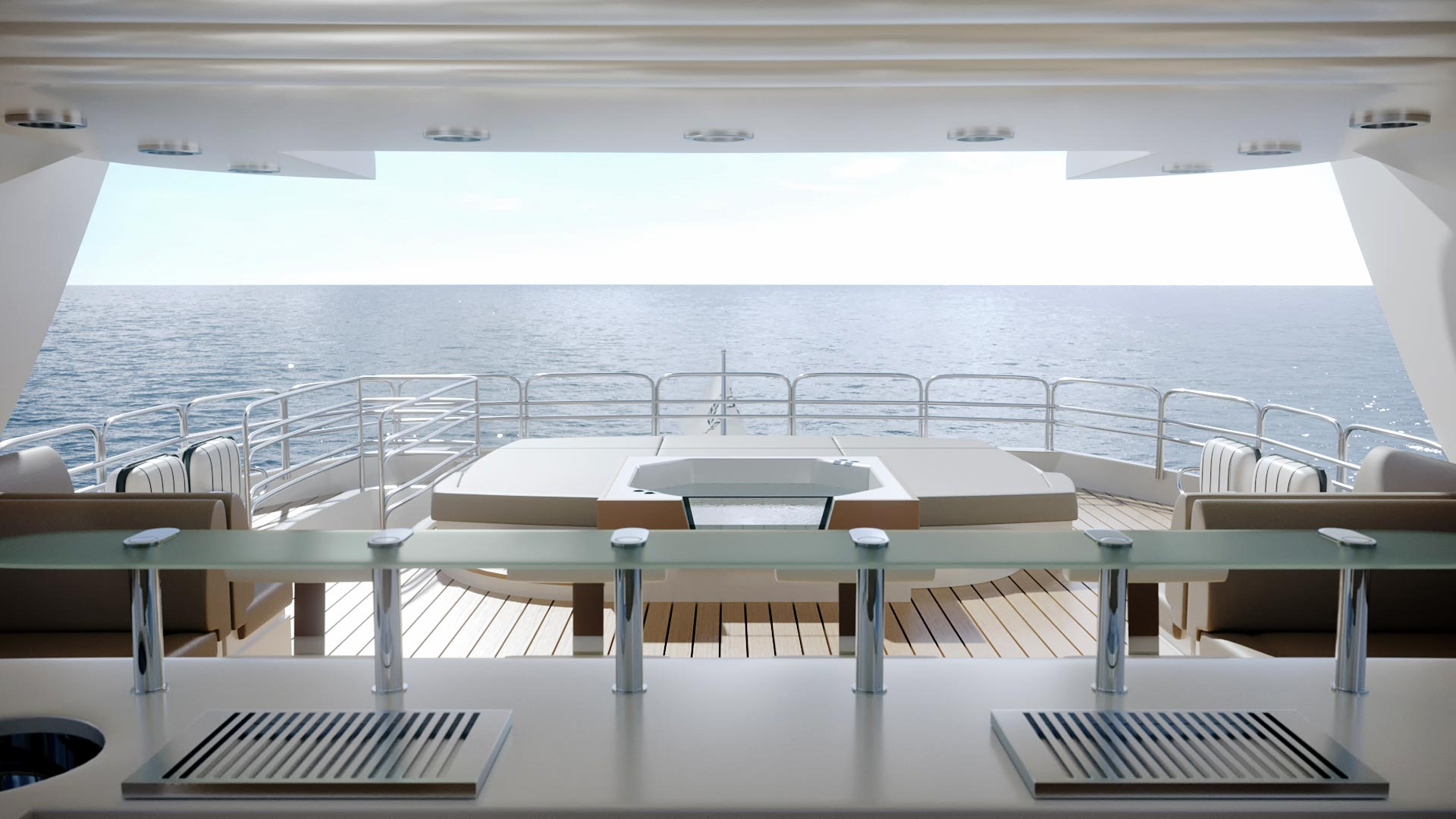 Modeling and 3D yacht rendering and surrounding environment
