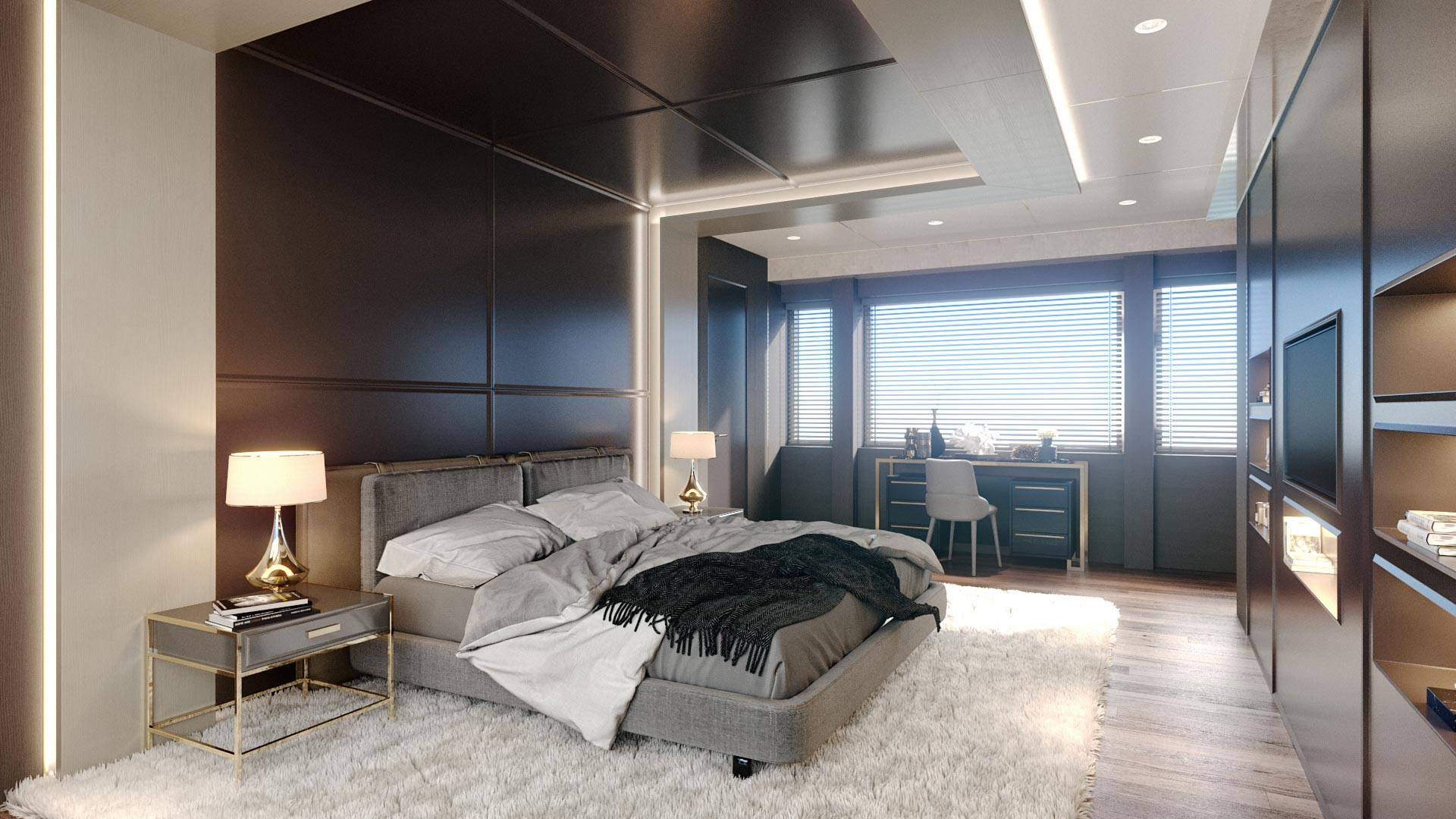 Modeling and 3D rendering of yacht interiors